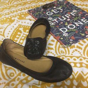 "Lucky Brand ""Echo 2"" Black Leather Ballet Flats"